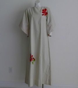 Vtg linen minimal maxi dress embroidered hibiscus